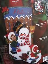 "Christmas Bucilla Felt Applique Holiday Stocking Craft Kit,PLAYDATE,84952,18"""