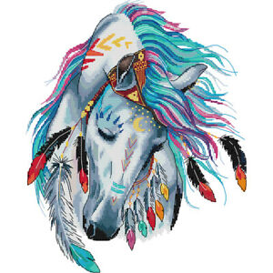 Rainbow Horse 11 Count Aida Counted Cross Stitch Kit Size 39 x 47 cm