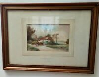 Watercolour Painting Cottage at Wootton Berkshire FH Stewart Antique 19th C