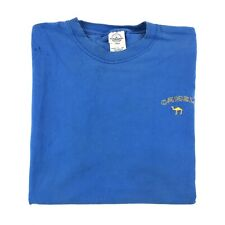 Vintage 90s DIstressed T Shirt Large Blue Embroidered Camel Spell Out Grunge