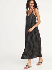 Old Navy Sleeveless V-neck Black Polka Dot Maxi Dress   Sz XS   NWT