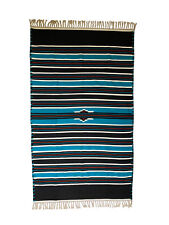 Hand Woven Traditional Large Multicoloured Striped Rug Mat made Blue Black