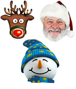 Christmas Variety 3 Pack 2D Card Face Masks - Snowman, Rudolph, Father christmas