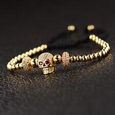 Fashion Men's Gold Plated Zirconia Skull Copper Beads Adjustable Charm Bracelets