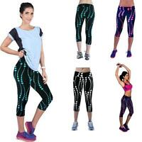 2016 New High Waist Fitness Yoga Sport Pants Printed Stretch Cropped Leggings