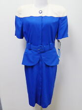 NEW VINTAGE ROYAL BLUE IVORY SHORT SLEEVE DRESS by LESLIE FAY~WOMENS 8 MEDIUM