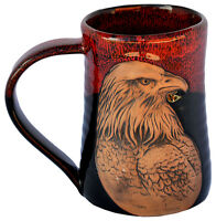 "MUGS - ""MAJESTIC EAGLE"" HANDMADE POTTERY MUG - RED ON BLACK - 3D TANKARD"