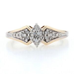 Yellow Gold Diamond Cluster Engagement Ring - 10k Single Cut .10ctw