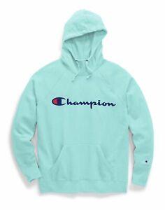 Champion Fleece Hoodie Sweatshirt Womens Plus Size Powerblend Script Logo Roomy