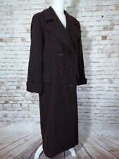 Women's Talbots Dark Brown Double Breasted Coat 100% Wool Size 6