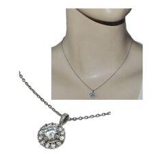 Collier en argent massif 925 chaîne pendentif fleur zirconium blanc bijou