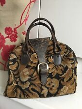VTG 1970s Brown Leather Carpet Weekend Tote Carry Bag