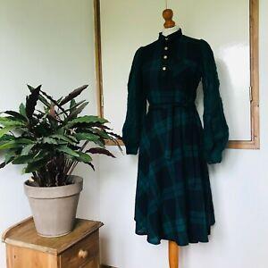 Vtg 80s Green Blue Check Print Wool Cable Knit Balloon Sleeve Shirt Dress 10