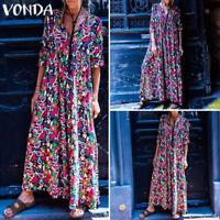 Oversize Femme Robe Imprimé Floral Manche Longue Casual en vrac Col V Dresse