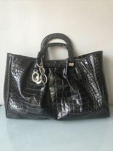 $450 Oscar de la Renta Croc Embossed Leather Large Satchel Tote Black Handbag