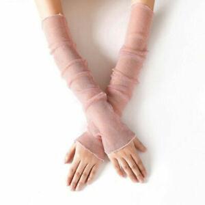 Women Mesh Lace Long Fingerless Gloves Breathable Sun UV Protection Arm Sleeves