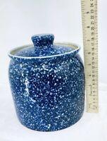 VINTAGE OTAGIRI  ORIGINAL BLUE/WHITE SPARKLE LARGE CANISTER COOKIE JAR CONTAINER