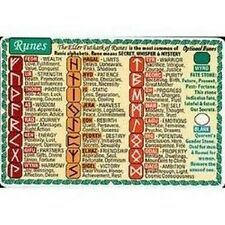 Wallet Pocket Chart Runes Divination Wiccan Pagan Metaphysical Reference