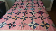 """Antique Pieced QUILT TOP PinWheel Pattern, Pink Chambray,Calicos,Multi-Color 70"""""""