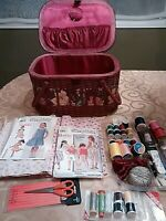 """Sewing Basket Weaved Cane + Notions 14 """" x 10"""" x 8"""" Two Handles"""