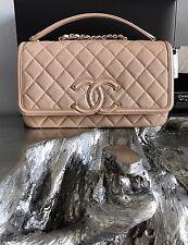 NWT CHANEL Beige Caviar Filigree CC Logo MEDIUM Large Flap Crossbody Bag SOLDOUT