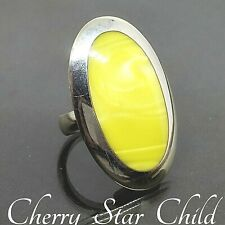 Solid sterling 925 silver polished huge oval ring w yellow lucite