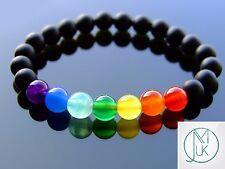 Black Frosted Chakra Natural Gemstone Bracelet 7-8'' Elasticated Healing Stone
