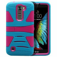 For LG K10 Hard Gel Rubber KICKSTAND Case Phone Protector Cover Accessory