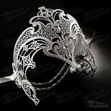 Womens Egyptian Chain Venetian Laser-Cut Filigree Metal Masquerade Mask [White]