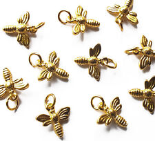 10 x Quality 3d Gold tone Honey/Bumble Bee Charms & jump rings, Flying Insect