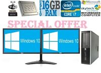 Cheap HP Office PC Quad Core i7 16GB RAM Windows 10 HDD SSD Desktop Dual Monitor