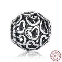 Wostu Authentic S925 Sterling Silver Charm Hollow Heart Fit Bracelets necklace