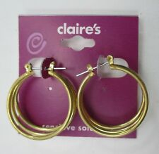 zzb Gold Tone 3D Hoop earrings for sensitive ears Claire's Jewelry tarnished