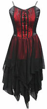 Dark Star Jordash Gothic Red Velvet & Black Mesh Layered Pixie Hem Dress 10-16