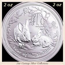 2011 2 oz Perth Mint Year Of the Rabbit .999 Silver Proof-like Coin