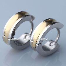 Pair Mens Golden Stainless Steel Round Hoop Huggie Ear Stud Plug Earring Jewelry