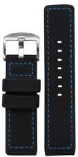 20mm Panatime Black Waterproof PU Ballistic Watch Band w/Blue Stitching 120/80
