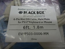 EVMPS03-0006-MM BLACK BOX CABLE: 6-PIN MINI DIN, MALE/MALE FOR PS/2 BRAND NEW!