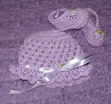 Handmade Crochet Baby Hat, Booties Set Newborn 3 Months by Rocky Mountain Marty