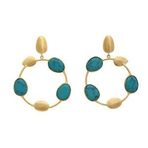 Brand New Handmade Pretty Turquoise Leaf Circle18kGold Plated Drop Hoop Earrings