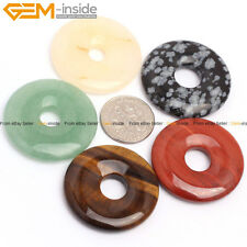 30mm Round Donuts Ring DIY Gemstone Pendant Beads 1Pc  12 Materials Selectable