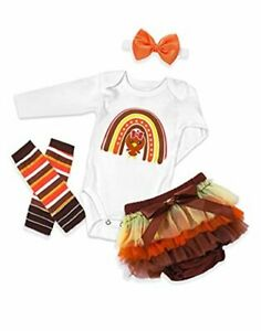 Thanksgiving Baby Girl Outfit Baby Girl Fall Clothes Turkey 0-3 months White