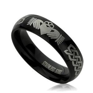 Men Women  Engraving 6MM Titanium Wedding Band Ring Irish Celtic Claddagh Knott