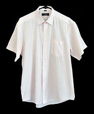 Versace Classic V2 White w/ Red Pinstripe Cotton Short Sleeve Shirt size 17 1/2