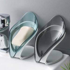 Leaf Shape Self Draining Bathroom Soap Dish Sponge Case Holder Box Stand Hot