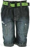 NO FEAR Boys Belted Shorts Dark Wash 9 - 10 YRS MEDIUM BOYS A343-28