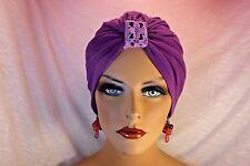 "Chemo Turban Hijab Tichel  Purple Lavender w Lace ""Something4you"" Alopecia"