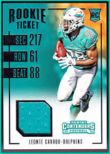 MIAMI DOLPHINS 2016 CONTENDERS LEONTE CARROO ROOKIE TICKET PLAYER WORN GAME CARD