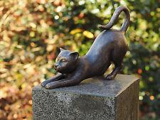 Bronzeskulptur, kleine Katze, Dekoration für Haus und Garten *