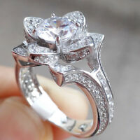 Newshe Flower Engagement Wedding Ring 2ct 925 Sterling Silver Round AAA Cz Sz 7
